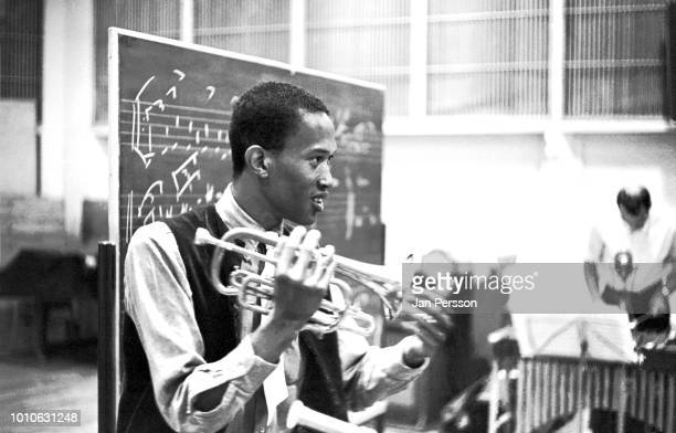 American jazz trumpeter Don Cherry recording with The Danish Radio Jazzgroup at The Radiohouse Copenhagen Denmark 1966