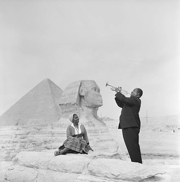Jazz Trumpeter Louis Armstrong Playing For His Wife In Giza Wall Art