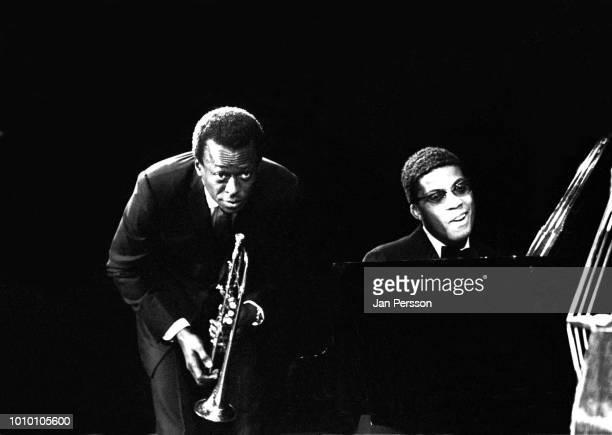 American jazz trumpeter Miles Davis and American jazz pianist Herbie Hancock performing in Copenhagen Denmark November 2 1967