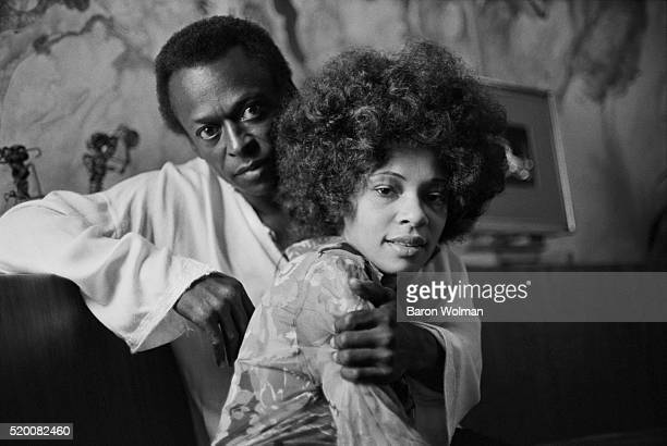 American jazz trumpeter Miles Davis and his wife funk singer Betty Davis at their home in New York City October 1969