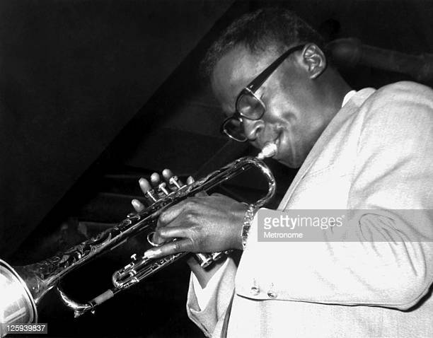 American jazz trumpeter Miles Davis performs on stage with the Miles Davis Sextet in 1958 in St Louis Missouri