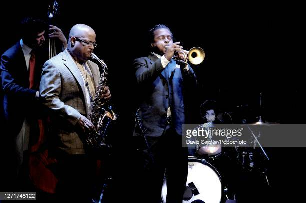 American jazz trumpeter Roy Hargrove performs live on stage with saxophonist Justin Robinson at Ronnie Scott's Jazz Club in Soho London on 9th July...
