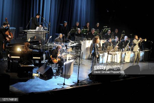 American jazz trumpeter Roy Hargrove performs live on stage with singer Roberta Gambarini and the BBC Big Band at Queen Elizabeth Hall In London on...