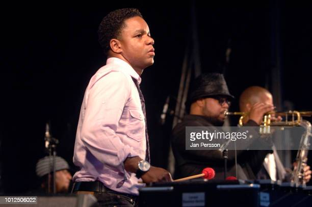 American jazz vibraphonist Stefon Harris performing at Copenhagen Jazz Festival Denmark 11 July 2012 In the back trumpeter Nicolas Payton and tenor...