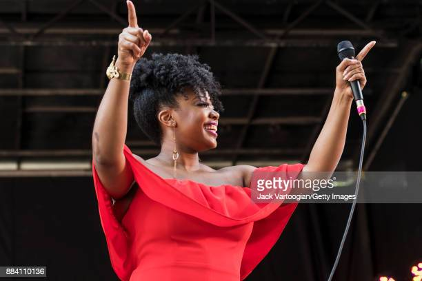 American Jazz vocalist Alicia Olatuja performs with her band on the final day of the 25th Annual Charlie Parker Jazz Festival in Tompkins Square Park...