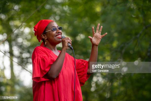 American jazz vocalist Cécile McLorin Salvant performs onstage at Chillida Leku Museum during 56th edition of Heineken Jazzaldia Festival on July 18,...