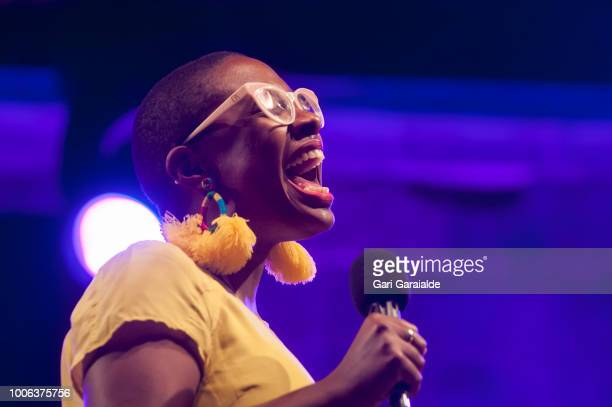 American jazz vocalist Cécile McLorin Salvant performs onstage during 53rd edition of Heineken Jazzaldia Festival on July 27 2018 in San Sebastian...
