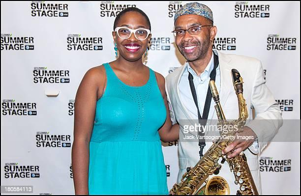 American Jazz vocalist Cecile McLorin Salvant backstage with alto saxophist Kenny Garrett at the 21st Annual Charlie Parker Jazz Festival in the...