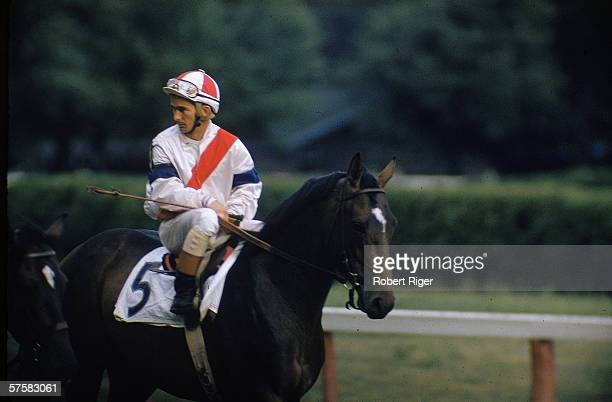 American jockey Willie Shoemaker as number 5 rides an unidentified racehorse on a racetrack late 1950s or early 1960s