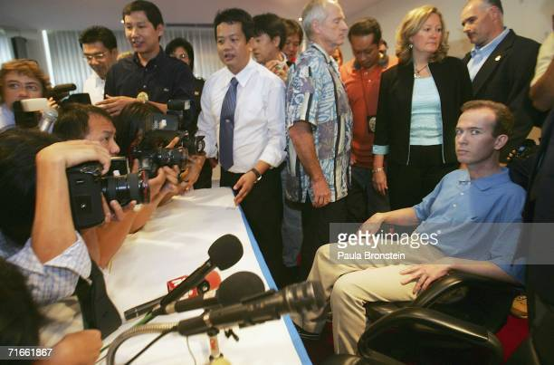 American John Mark Karr is presented to the media whilst being held by US and Thai authorities at an immigration office on August 17 2006 in Bangkok...