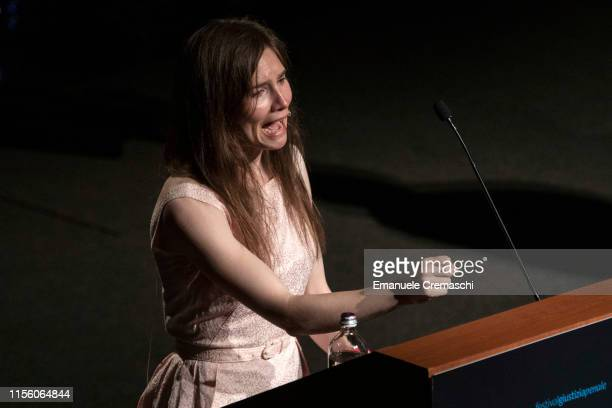 American journalist Amanda Knox delivers a speech during a panel session entitled 'Trial by Media' during the first edition of the Criminal Justice...