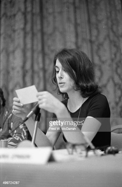 American journalist and author Nora Ephron looks at a notecard during a panel discussion at the A.J. Liebling Counter-Convention, New York, New York,...