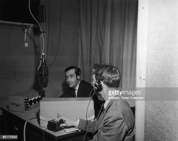 American journalist and broadcaster Edward R. Murrow in a radio studio, circa 1945.