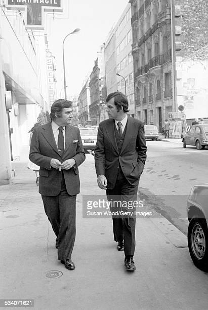 American journalist and former US Press Secretary to President Kennedy Pierre Salinger and American former US Press Secretary to President Nixon Ron...
