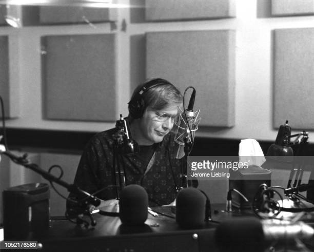 American journalist and host of Morning Edition Bob Edwards broadcasts live in a studio at National Public Radio headquarters Washington DC July 1992