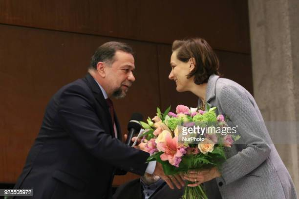 American journalist and Pulitzer Prizewinning author Anne Applebaum and Consule of Ukraine to Poland Lev Zakharchishin are seen in Gdansk Poland on...