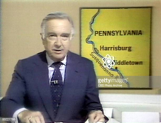 American journalist and TV news broadcaster Walter Cronkite anchor for the 'CBS Evening News' reports on the meltdown of a reactor at the Three Mile...