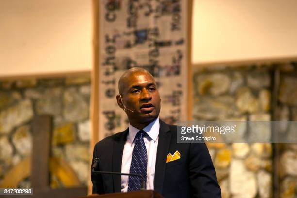 American journalist Charles M Blow speaks from the stage at the Montreat Conference Center during the 'Dr King's Unfinished Agenda' event Montreat...