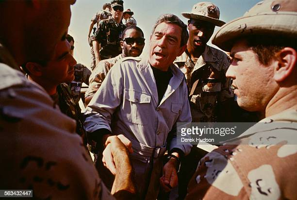 American journalist Dan Rather with the US Marines in Dhahran Saudi Arabia during a Thanksgiving Day visit by US President George H W Bush in the...