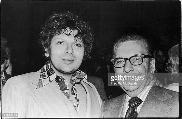 American journalist Earl Wilson stands with an unidentified man at an specified event New York New York January 29 1978