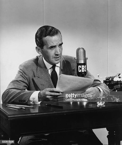 American journalist Edward R Murrow correspondent for CBS News broadcasts a report September 10 1947