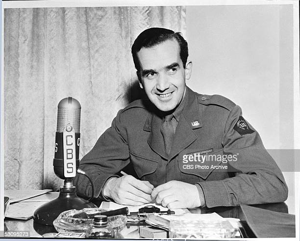 American journalist Edward R Murrow in a US military war correspondent's uniform reports on World War II from London for the CBS Radio network London...