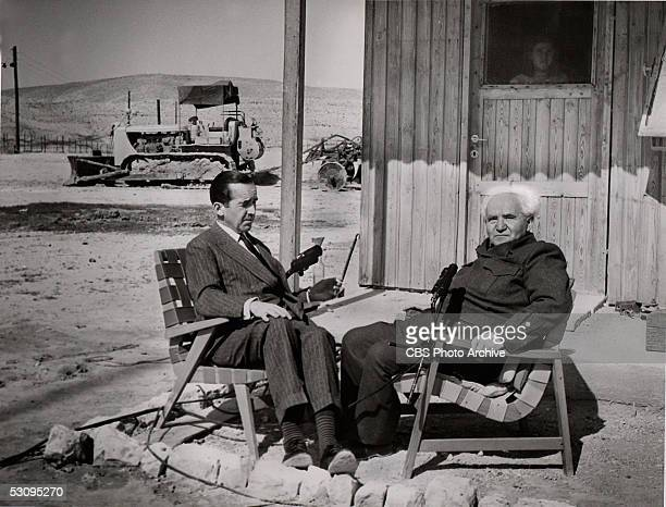 American journalist Edward R Murrow interviews Israeli prime minister David BenGurion for the news program 'See It Now' Israel May 1956 The 'Report...