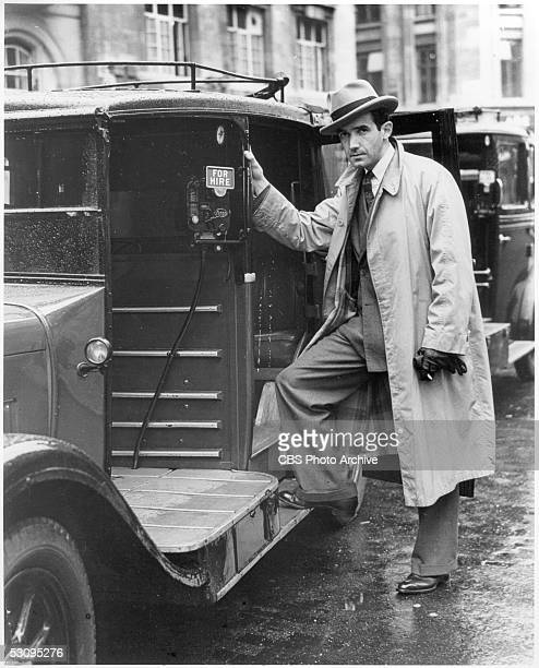 American journalist Edward R Murrow prepares to board a taxicab while in London to cover World War II for the CBS Radio network London England 1941