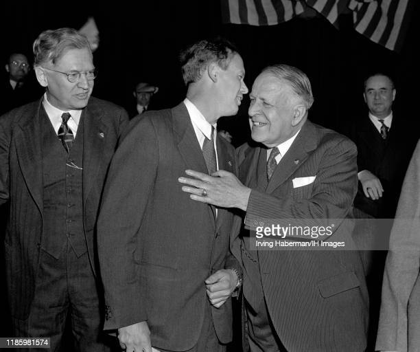 American journalist John T. Flynn , Charles Lindbergh the spokesperson for the America First Committee and Senator David Ignatius Walsh of...