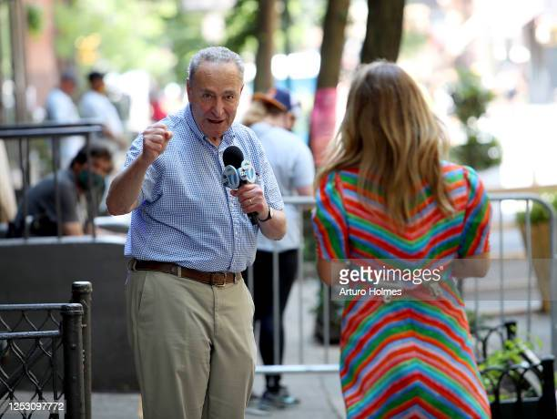 American journalist Lauren Glassberg and United States Senator Chuck Schumer speak during the 50th anniversary of the first Pride march on June 28,...