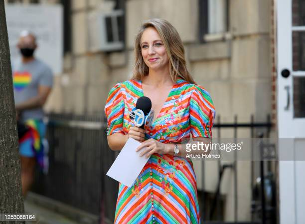 American journalist Lauren Glassberg speaks during the 50th anniversary of the first Pride march on June 28 2020 in New York City Due to the ongoing...