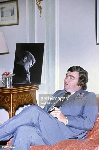 American journalist Pierre Salinger Press Secretary to US Presidents John F Kennedy and Lyndon B Johnson Paris France circa 1978 A photographic...
