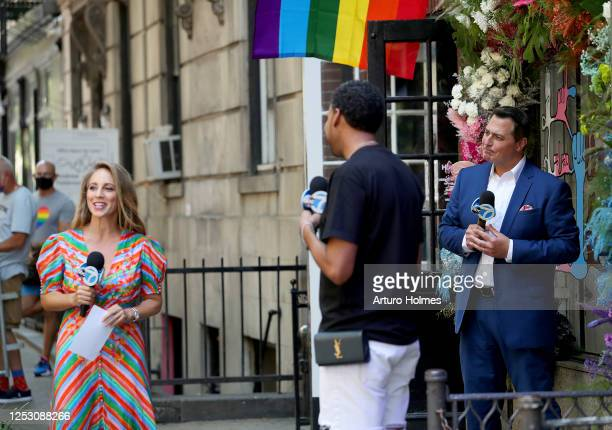 American journalists Ken Rosato Lauren Glassberg and David Johns speak during the 50th anniversary of the first Pride march on June 28 2020 in New...