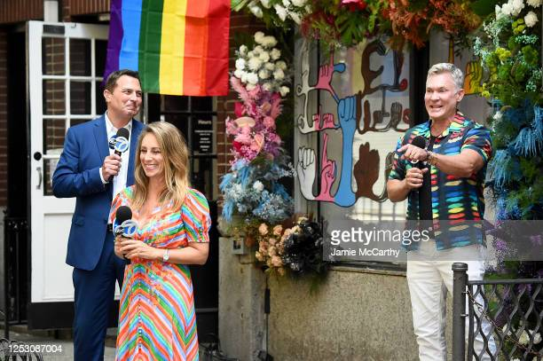 American journalists, Ken Rosato, Lauren Glassberg and Sam Champion speak during the 50th anniversary of the first Pride march on June 28, 2020 in...