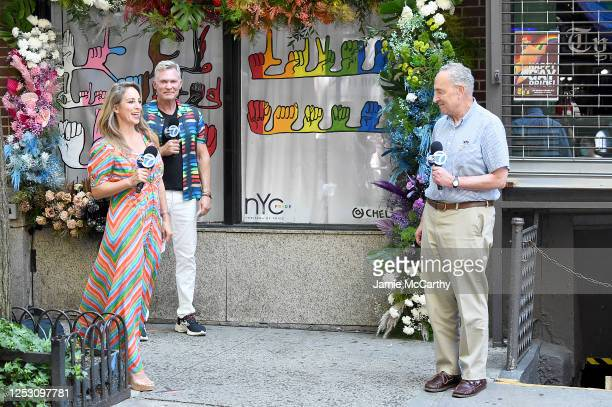 American journalists, Ken Rosato, Lauren Glassberg and United States Senator Chuck Schumer speak during the 50th anniversary of the first Pride march...