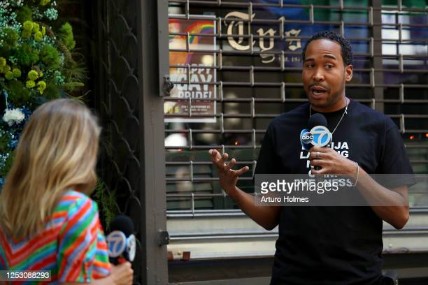 American journalists Lauren Glassberg and David Johns speak during the 50th anniversary of the first Pride march on June 28 2020 in New York City Due...