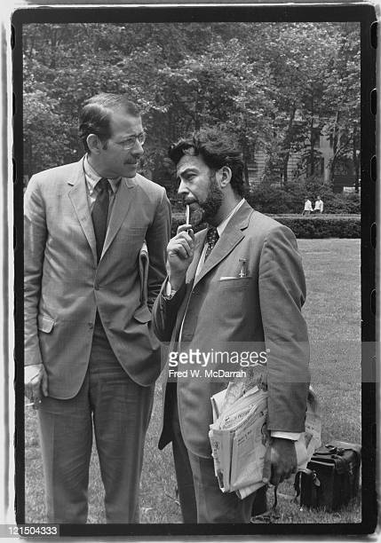 American journalists Tom Morgan and Nat Hentoff as they stand in Bryant Park New York New York June 19 1969 Morgan was an advisor for NY Mayor John...