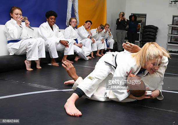 American judoka Kayla Harrison the 2012 Olympic gold medalist performs a judo demonstration with Team USA partner Liberty Mutual Insurance on April...