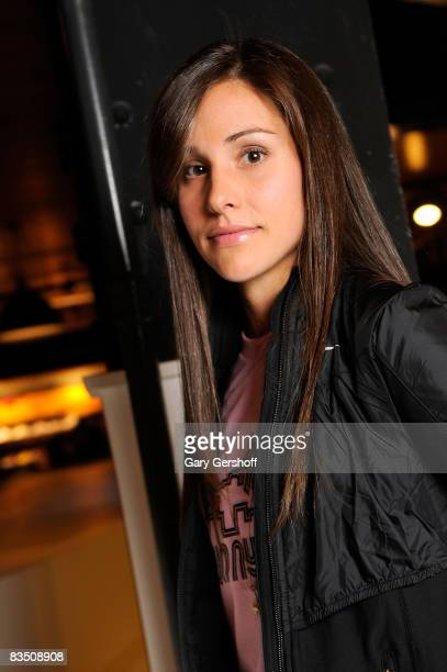 American Kara Goucher poses for pictures at The NYC Marathon at Niketown on October 30 2008 in New York City