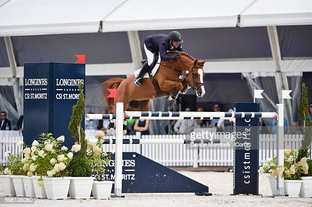 """American Kent Farrington riding Creedence winner Longines CSI5 * St Moritz here in action during competition """"n"""