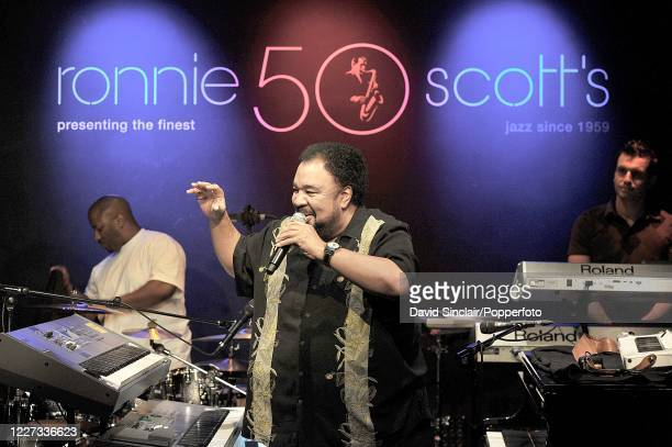 American keyboard player George Duke performs live on stage with his band at Ronnie Scott's Jazz Club in Soho London on 13th May 2010