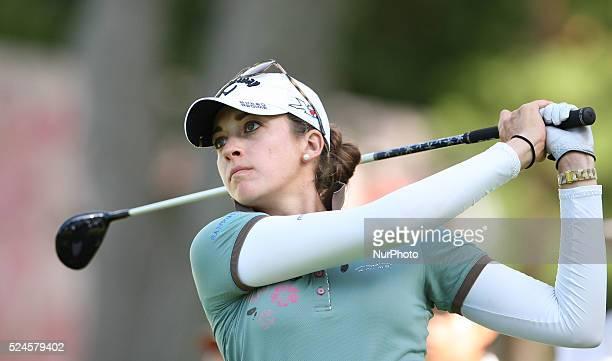 American Kim Kaufman follows her drive down the fairway at the 18th tee during the third round of the Marathon LPGA Classic golf tournament at...