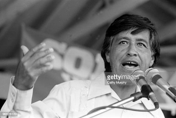 American labor leader and cofounder of the United Farm Workers Cesar Chavez speaks at a rally Coachella California 1977