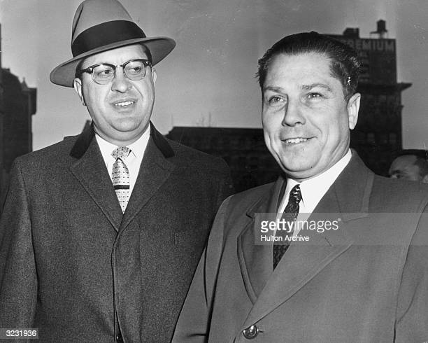 American labor leader Jimmy Hoffa , organizer for the International Brotherhood of Teamsters , with his attorney William E Bufalini, during his trial...