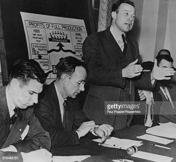 American labor union leader Walter Reuther Vice President of the Automobile Workers of America addresses representatives of the United Auto Workers...