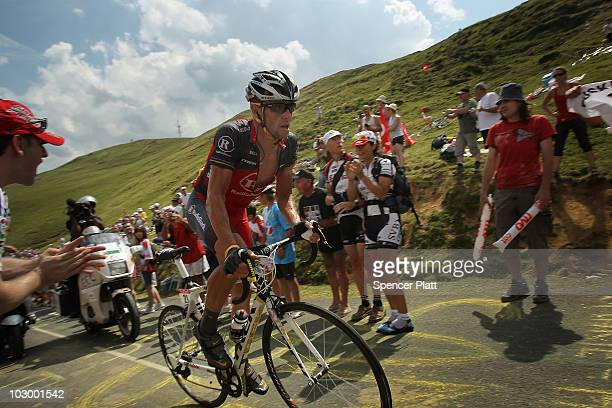 American Lance Armstrong with team RadioShack rides in a breakaway during stage 16 of the Tour de France on July 20 2010 in Pau France Armstrong...
