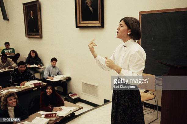 American law professor and later politician and US Senator Elizabeth Warren lectures a law class at the University of Pennsylvania Philadelphia...
