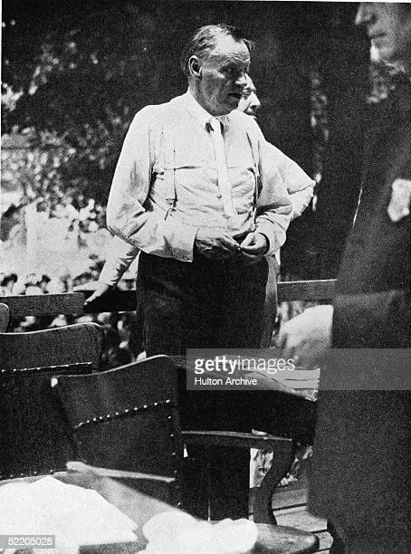 American lawyer and activist Clarence Darrow questions prosecutor former Secretary of State and fundamentalist preacher William Jennings Bryan on the...