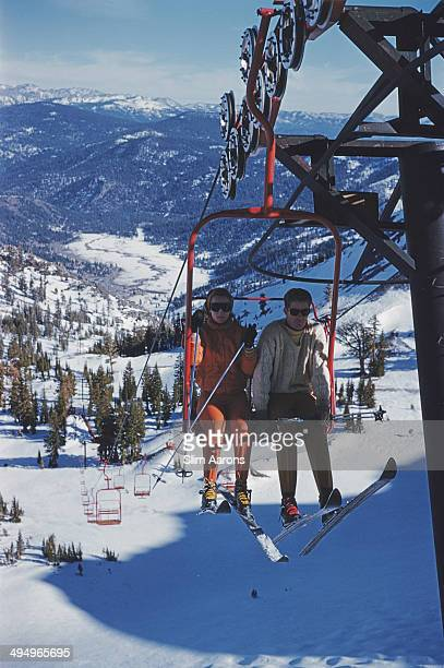American lawyer and businessman Alexander Cochrane Cushing with his first wife Justine Cushing at the Squaw Valley Ski Resort which he developed in...
