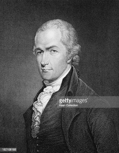 American lawyer and statesman Alexander Hamilton one of the Founding Fathers of the United States circa 1795 Engraving by John Francis Eugene...